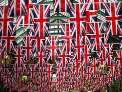 Union jack flags in Covent garden