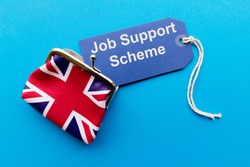 Union jack purse and label with message 'job support scheme'