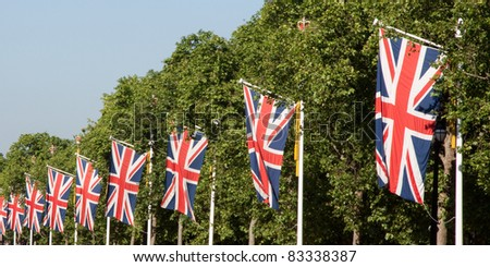 Union jacks on London street