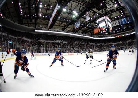 UNIONDALE, NEW YORK, UNITED STATES – Nov. 2, 2013: NHL Hockey: Game action between the Boston Bruins and New York Islanders at Nassau Coliseum. Carl Soderberg #34. #1396018109