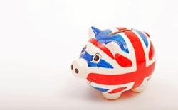 UnionJack Porcelain piggy bank isolated on white background-image