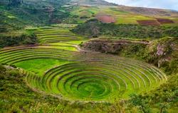Unique ancient Inca circular terraces at Moray (agricultural experiment station), Peru, South America