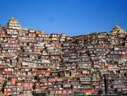 Unique and beautiful landscape at Larung Gar Buddhist Institute spread among the hills in Serta County in Kardze, eastern Tibet in Sichuan Province, China.