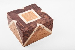 unique and elegant isolated square wooden  box for jewlery on white background