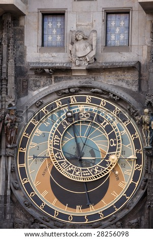 Unique astronomical clock on gothic Old Town Hall in Prague supplemented with a round calendarium including zodiac signs painted by Josef Manes (1865).