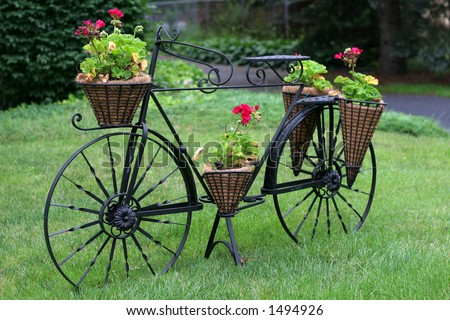 unique bicycle planter with flowers