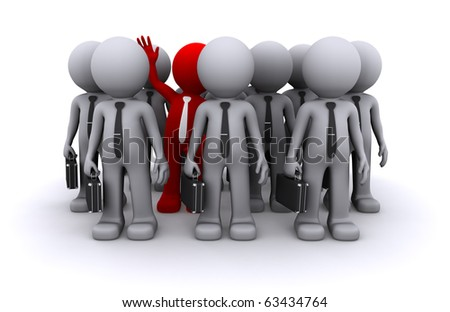 Unique character of crowd of people