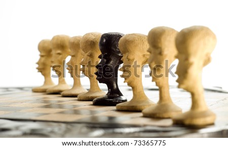 unique chess pawn showing individuality isolated on white background