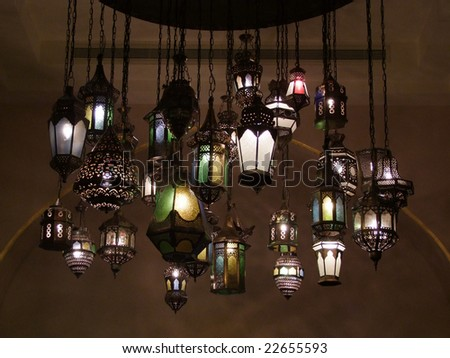 Unique collection of arabic old lighting lamps