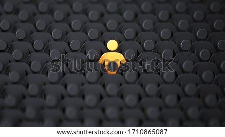 Unique color yellow human shape among dark ones. Leadership, individuality and standing out of crowd concept. 3D illustration Stock foto ©