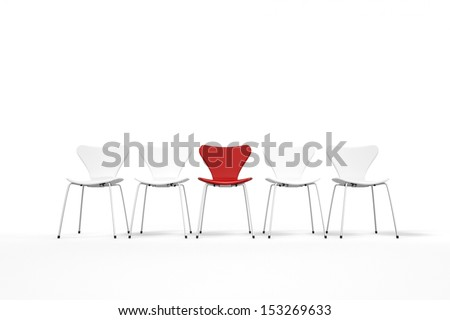 Unique concept with red and white chairs standing in row