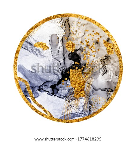 Unique creativity. Art&Gold. Inspired by the Sky. Abstract painting with golden swirls. Popular trendy artistic design. Masterpiece of designing art, oriental paper texture.