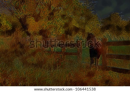 Unique 3D Illustartion of Old Wooden Farm Fence with Horse