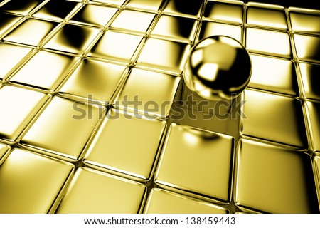 Unique, difference, leadership, and individuality concept: one different shiny gold ball standing out in the crowd of golden cubes