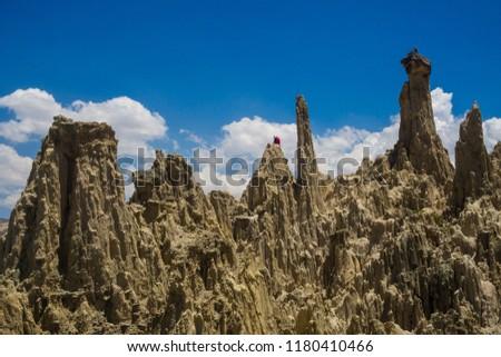 Unique geological formations cliffs shapes, Moon Valley park, La Paz mountains, Bolivia tourist travel destination. The Andes #1180410466
