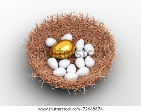 Unique gold egg among ordinary eggs in the nest of bird