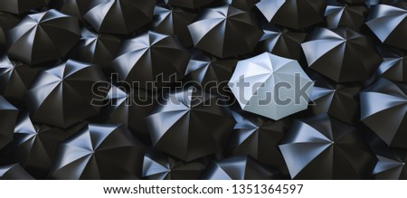 Unique gray umbrella among many dark ones. Standing out from crowd, individuality and difference concept - 3d rendering