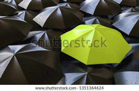 Unique green umbrella among many dark ones. Standing out from crowd, individuality and difference concept - 3d rendering