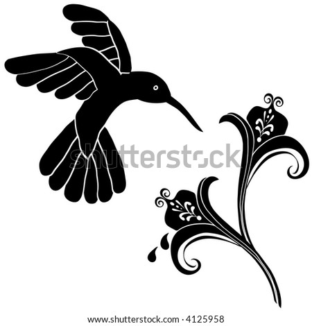 Flower Decoration on Unique Hummingbird And Flower Graphic Useful As Decoration And