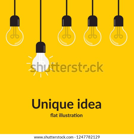 Unique idea. Bright idea and insight concept with light bulb, Isolated on yellow background, creative idea and leadership concept background, Flat style illustration.