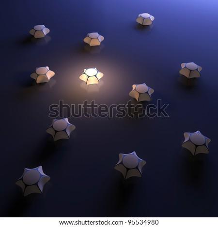 Unique luminous 3d object. Abstraction illustration