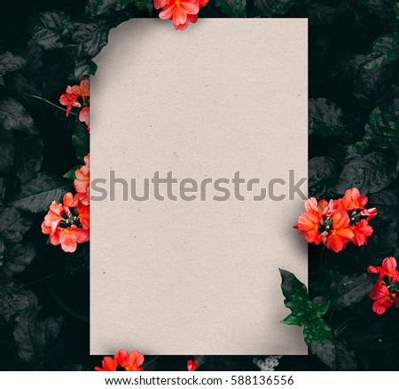 Unique nature concept layout made of blooming flowers and leaves background with real paper texture card note. Creative way for your project design layout ; display template, flat lay, printing & more