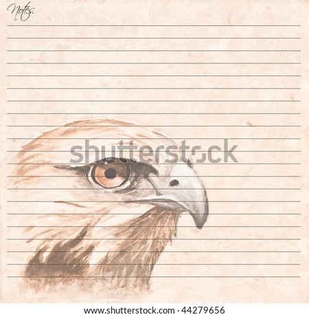 Unique note pad featuring a hand painted bird of prey on a ceramic tile face.  The photo of the original tile is in my portfolio.