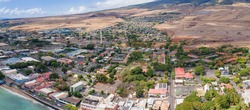 Unique panoramic perspective of old lahaina town in Maui