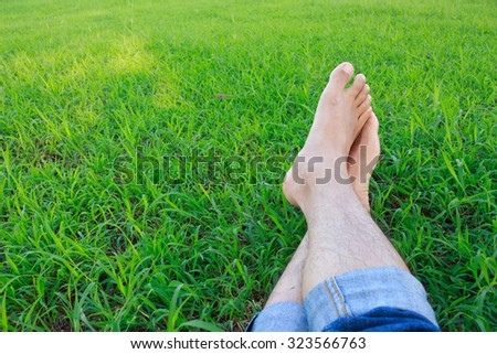 unique perspective grass relax foot leg happy time
