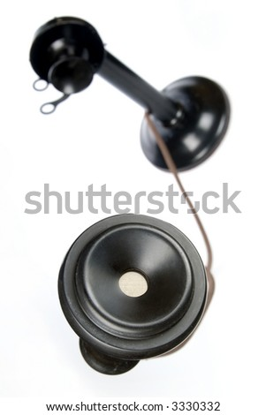Unique perspective of retro candlestick phone on white background