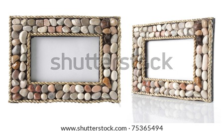 unique photo-frame with rock around the frame. isolated over white