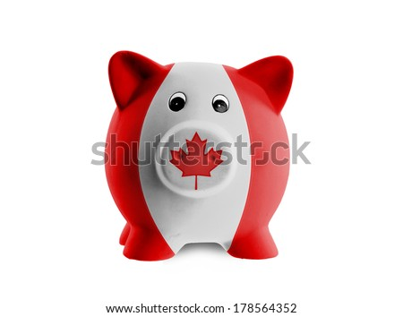 Unique pink ceramic piggy bank isolated, Canada