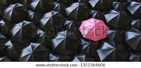 Unique pink umbrella among many dark ones. Standing out from crowd, individuality and difference concept - 3d rendering