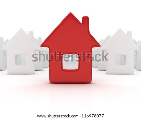 Unique red house. 3d render illustration - stock photo
