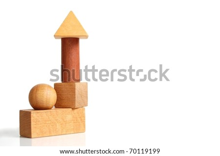 Unique Set of Building Blocks Forming a House-Like Structure on White with Room for Text - stock photo