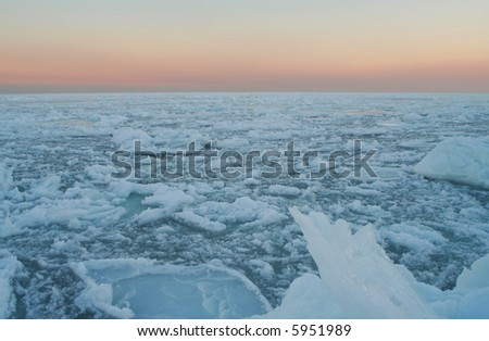 Unique situation - frozen Black Sea in Odessa (Ukraine). A lot of ice on the sea surface.