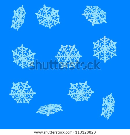 Unique Snow Crystal rendered at various angles to catch light differently. Spaced apart and arranged over a solid blue background to allow for use as presented or for easy selection for cut and paste.