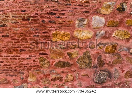 Unique stone wall of the Red Fort. India, Delhi.