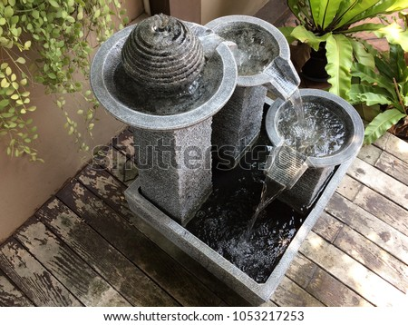 unique stone water fountain and wood garden decoration feng shui #1053217253
