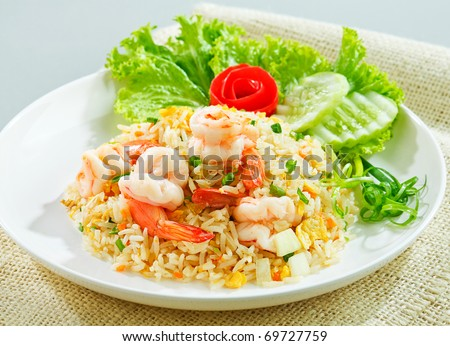 Unique style Thai shrimp fried rice serves on the dish the image isolated
