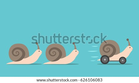 Unique successful fast moving snail with wheels in front of some slow ones. Competition, competitive advantage and innovation concept. Flat design