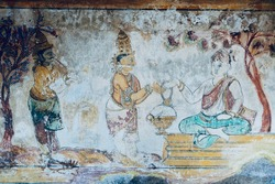 Unique Thanjavur paintings on the walls of Brihadeeswarar temple in Tamilnadu. Ancient paintings on the complex of historical temple in Thanjavur.