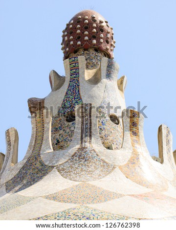 Unique Tower in Park Guell, Barcelona, Spain