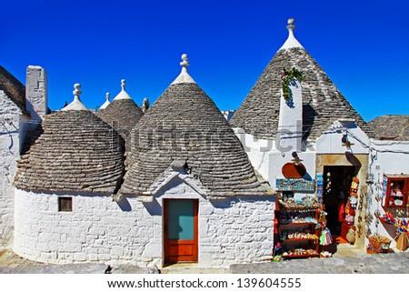 Unique Trulli houses with conical roofs in Alberobello, Italy, Puglia