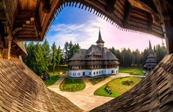 Unique wide view of Barsana monastery in Maramures region, cultural site of Romania in Europe