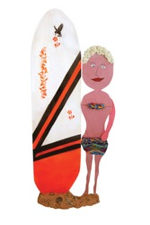 Unique wooden folk art cartoon cutout of a surfer girl in a bikini on the beach holding a surfboard on a white background.