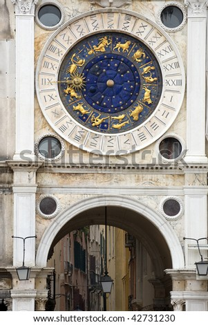 Unique Zodiac clock on Piazza San Marco, Venice