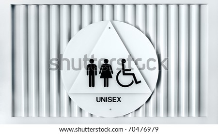 Unisex and handicapped sign on public restroom door