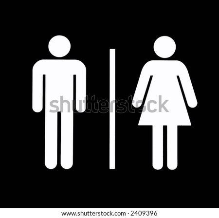 Unisex Bathroom / Restroom Symbol, White On Black, Background