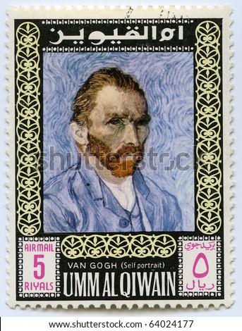 UNITED ARAB EMIRATES - CIRCA 1975: Postage stamps printed in United Arab Emirates shows self-portrait of the artist Van Gogh, circa 1975